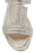 Tod's - Metallic Gold Leather Double-Band Flat Sandal