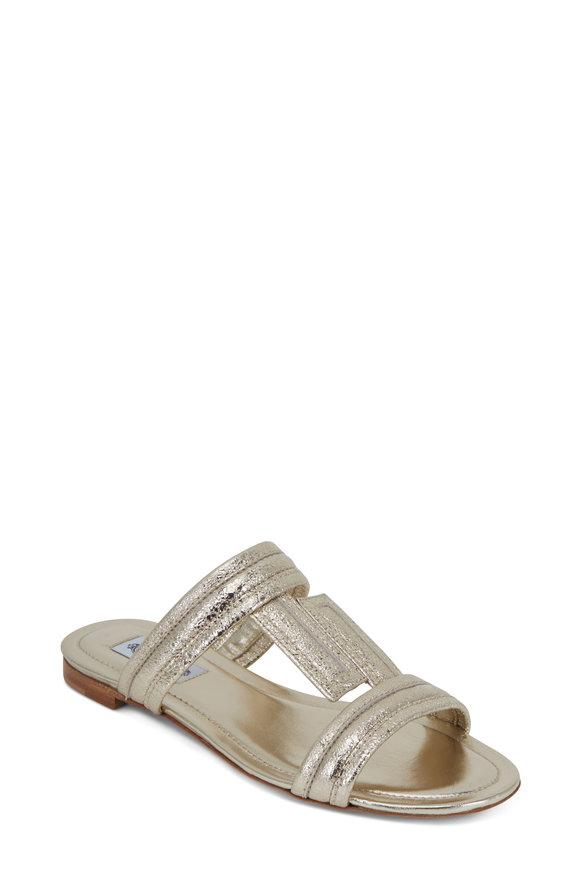 Tod's Metallic Gold Leather Double-Band Flat Sandal