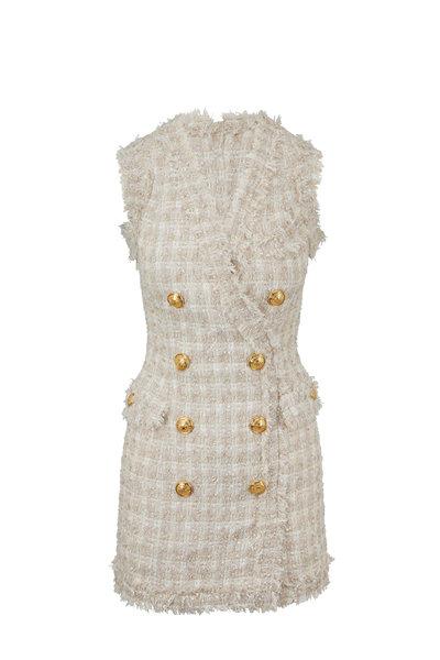 Balmain - Sable Tweed Double-Breasted Sleeveless Dress