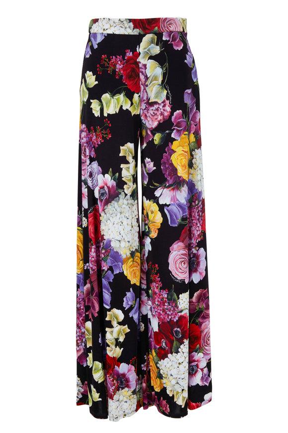 Dolce & Gabbana Black Floral Printed Wide Leg Pant