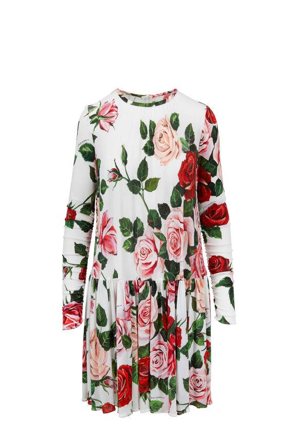 Dolce & Gabbana White Rose Printed Swing Dress