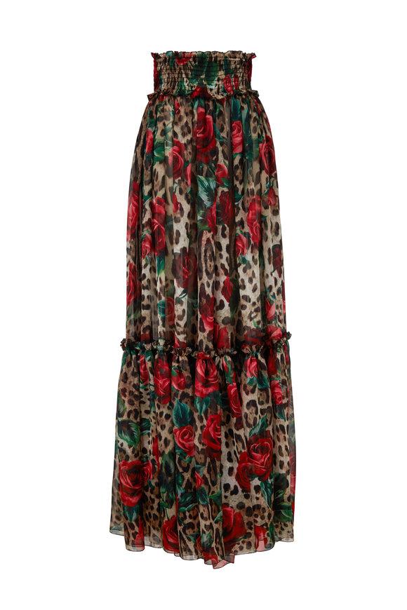 Dolce & Gabbana Leopard & Rose Printed Silk Skirt Pant