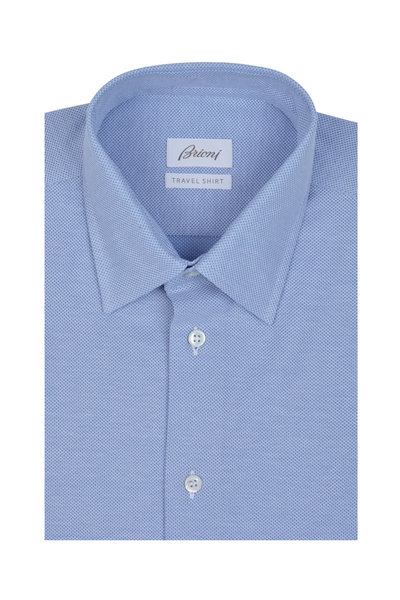 Brioni - Solid Blue Knit Sport Shirt