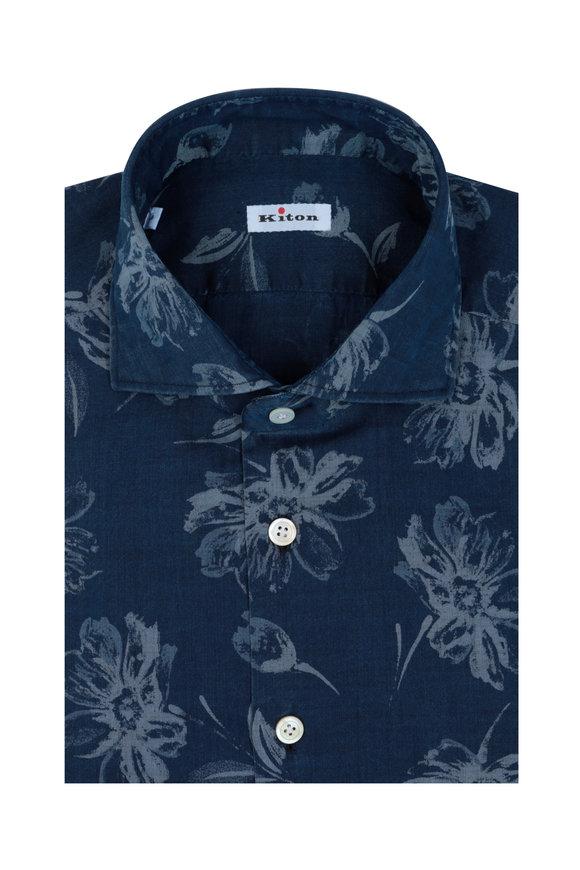 Kiton Navy Blue Floral Print Sport Shirt