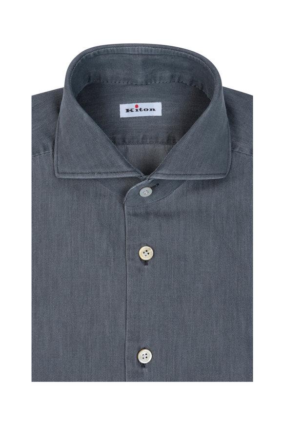 Kiton Solid Gray Sport Shirt