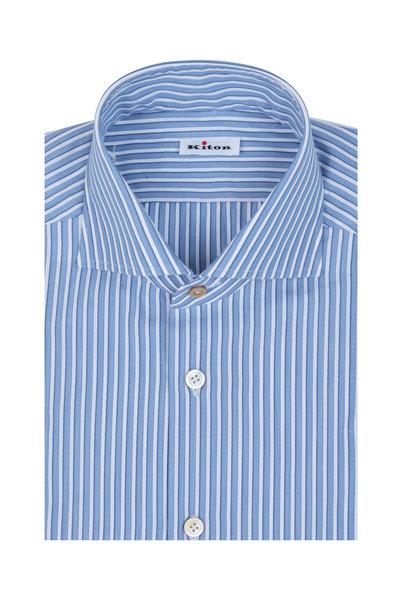 Kiton - Blue & White Striped Dress Shirt