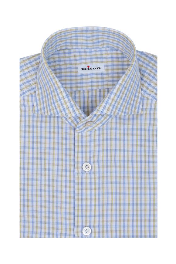 Kiton Yellow, Blue & White Check Dress Shirt