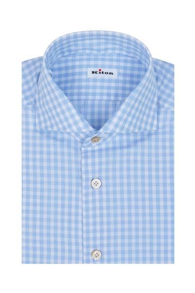 Kiton - Light Blue Gingham Dress Shirt