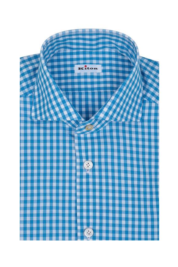 Kiton Teal & White  Gingham Dress Shirt