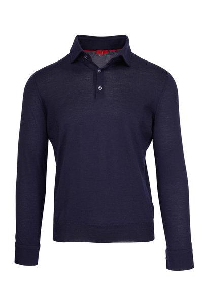 Isaia - Navy Cashmere & Silk Fine Gauge Sweater