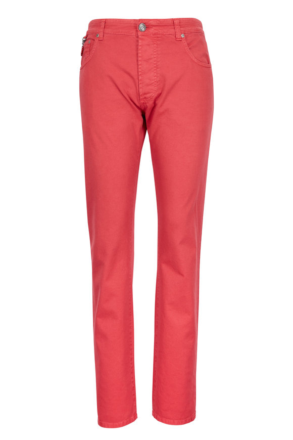 Isaia Red Straight Leg Jean
