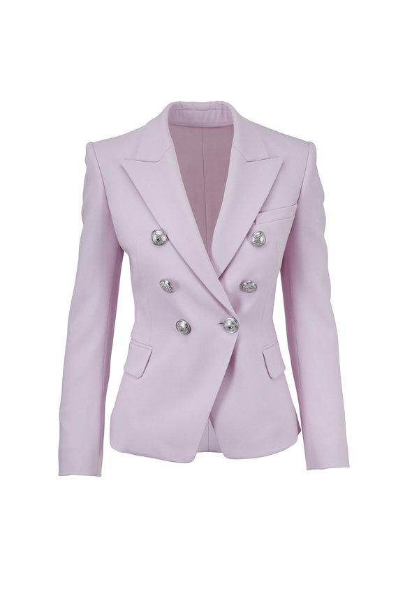 Balmain Lilac Wool Double-Breasted Blazer