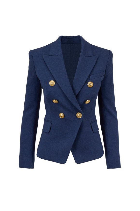 Balmain Denim Blue Double-Breasted Fitted Jacket