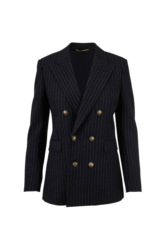 Saint Laurent Black Pinstriped Wool Double-Breasted Jacket