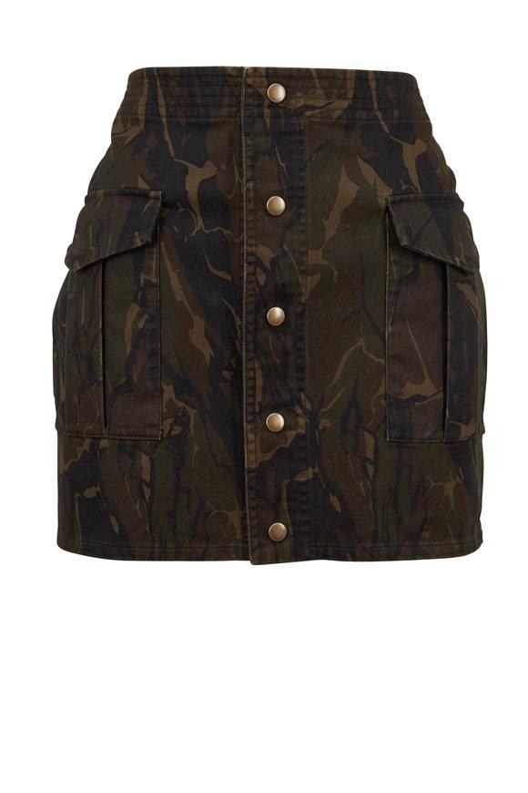 Saint Laurent Military Green Camo Snap Front Mini Skirt