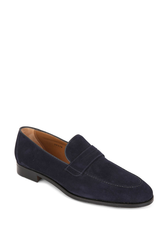 Gravati Navy Blue Suede Penny Loafer