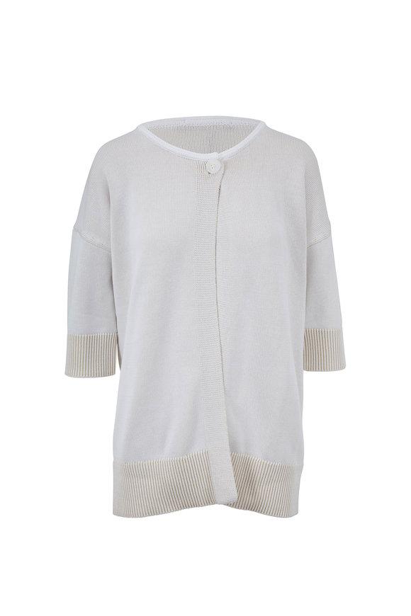 Raffi  White Cotton Elbow Sleeve One Button Cardigan