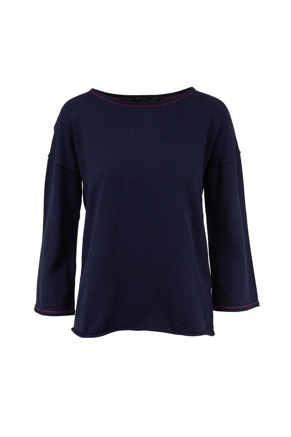 Raffi  Midnight Three-Quarter Sleeve Sweater