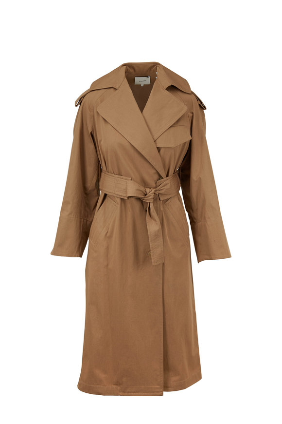 Vince Dark Khaki Cotton Belted Trench Coat