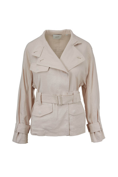 Vince - Sand Glow Stretch Linen Belted Jacket