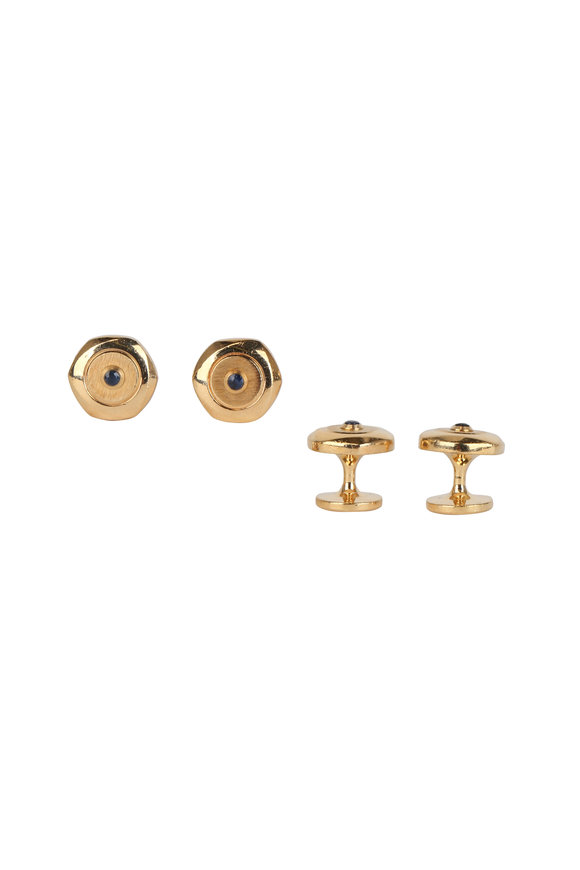 Dunhill Hexagon Gold Plated & Sapphire Stud Set