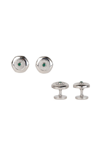 Dunhill - Hexagon Sterling Silver & Emerald Stud Set