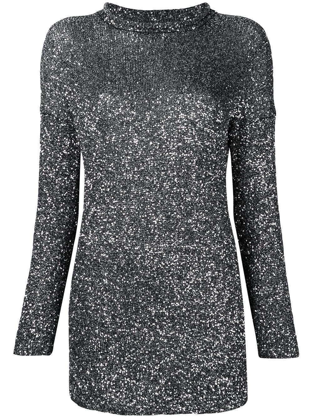 2b6be5c1dda Saint Laurent - Black & Silver Crystal Mesh Mini Dress   Mitchell Stores