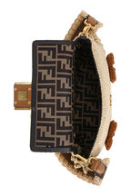 Fendi - Nude Woven Straw Floral Patches Baguette