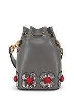 Fendi - Mon Tresor Gray Floral Patch Mini Bucket Bag