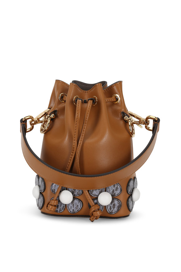 Fendi Mon Tresor Cognac Floral Patch Mini Bucket Bag