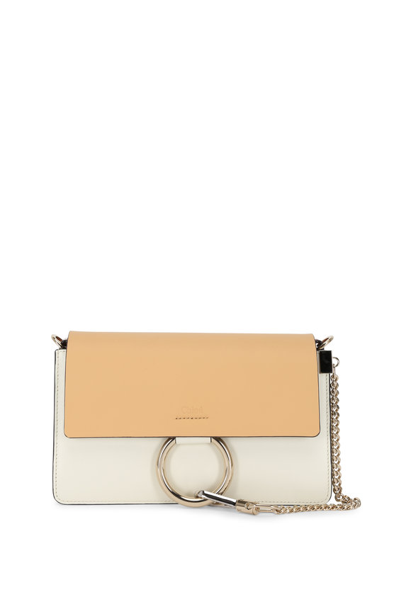 Chloé Faye Brown & White Leather Small Shoulder Bag