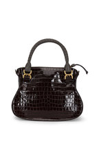 Chloé - Marcie Brown Croc Embossed Leather Medium Bag