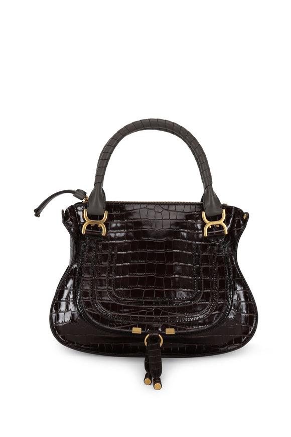 Chloé Marcie Brown Croc Embossed Leather Medium Bag