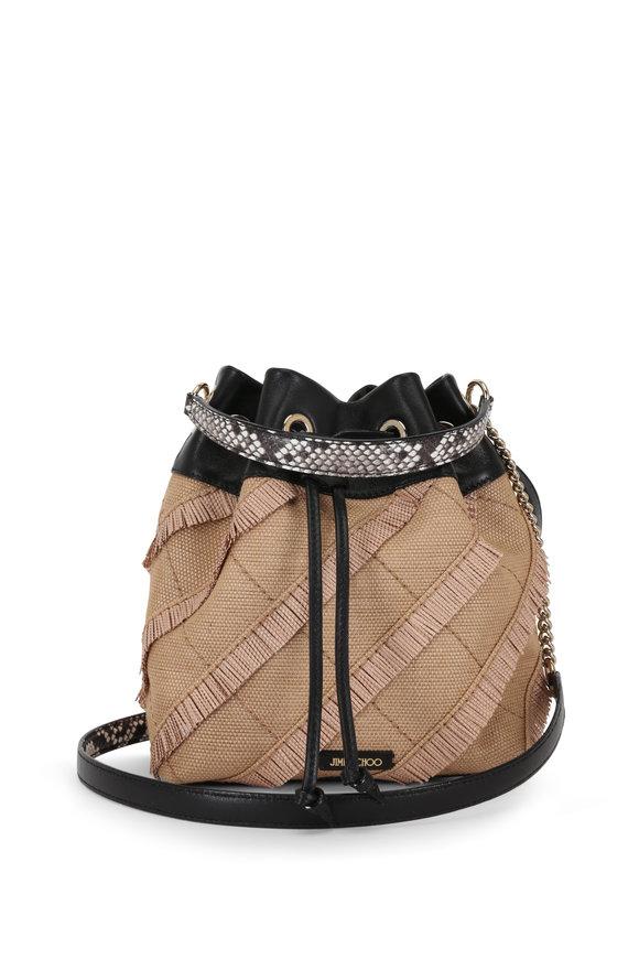 Jimmy Choo Juno Natural Woven Raffia & Ayers Bucket Bag