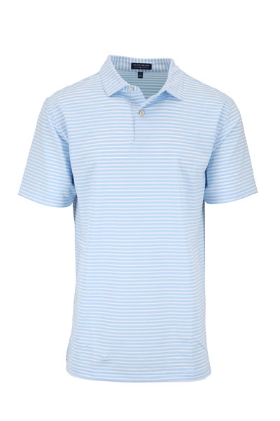 Peter Millar - Crown Crafted Light Blue Striped Polo