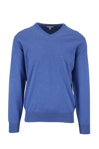 Peter Millar - Crown Soft Blue Cotton V-Neck Pullover