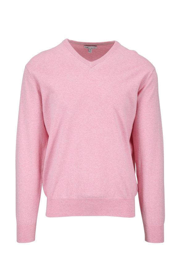 Peter Millar Crown Soft Pink Cotton V-Neck Pullover