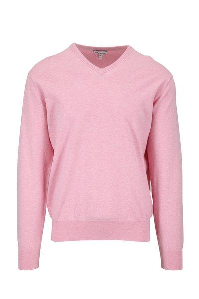 Peter Millar - Crown Soft Pink Cotton V-Neck Pullover