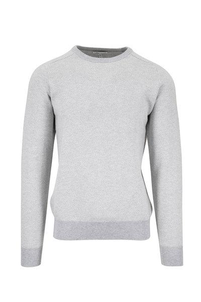 Peter Millar - Gray Herringbone Cotton Blend Crewneck Sweater