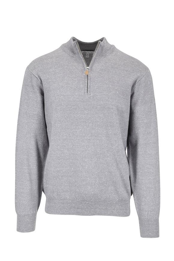 Peter Millar Gray Melange Wool & Linen Quarter-Zip Pullover