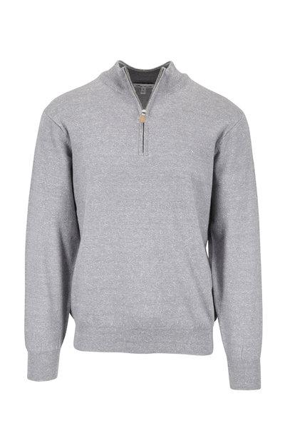 Peter Millar - Gray Melange Wool & Linen Quarter-Zip Pullover