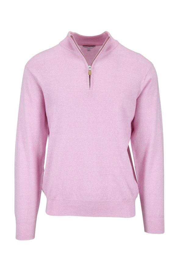 Peter Millar Pink Melange Wool & Linen Quarter-Zip Pullover