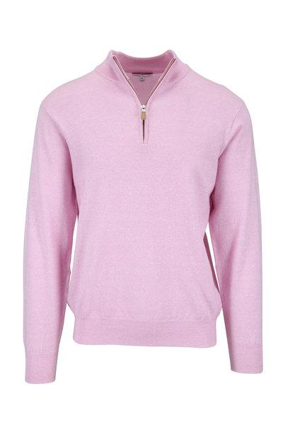 Peter Millar - Pink Melange Wool & Linen Quarter-Zip Pullover