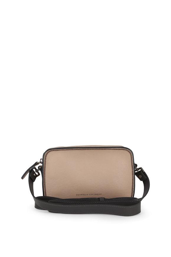 Brunello Cucinelli Sand Leather Monili Trim Small Camera Bag