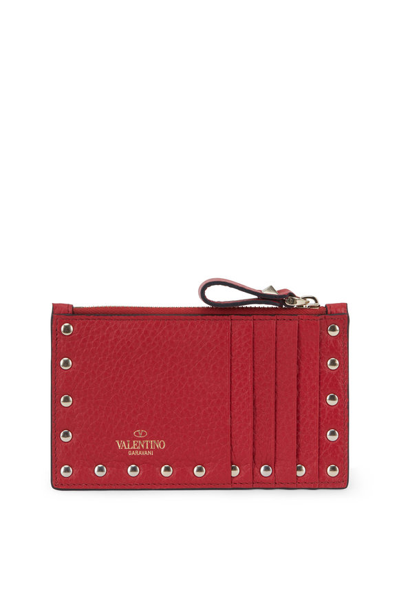Valentino Garavani Rockstud Red Leather Card Case