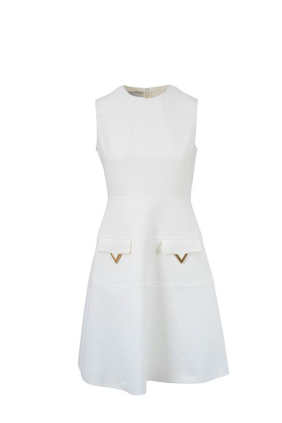 Valentino Ivory Double-Face Wool Crepe Sleeveless Dress