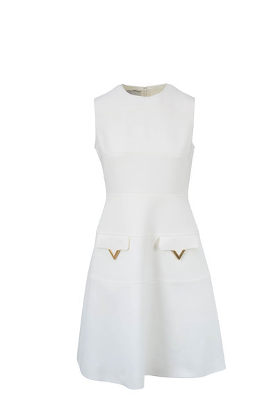 Valentino - Ivory Double-Face Wool Crepe Sleeveless Dress