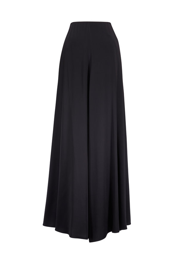 Rosetta Getty Black Satin Palazzo Pant