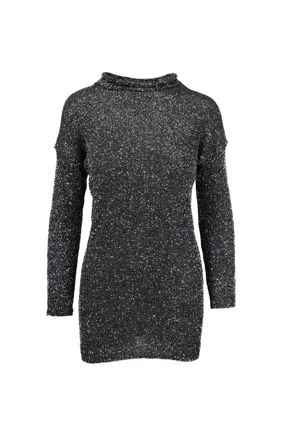 Saint Laurent Black & Silver Crystal Mesh Mini Dress