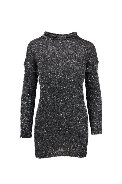 Saint Laurent - Black & Silver Crystal Mesh Mini Dress